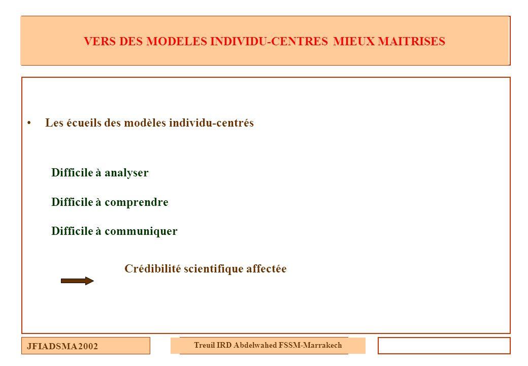 JFIADSMA 2002 Treuil IRD Abdelwahed FSSM-Marrakech VERS DES MODELES INDIVIDU-CENTRES MIEUX MAITRISES Les écueils des modèles individu-centrés Difficil