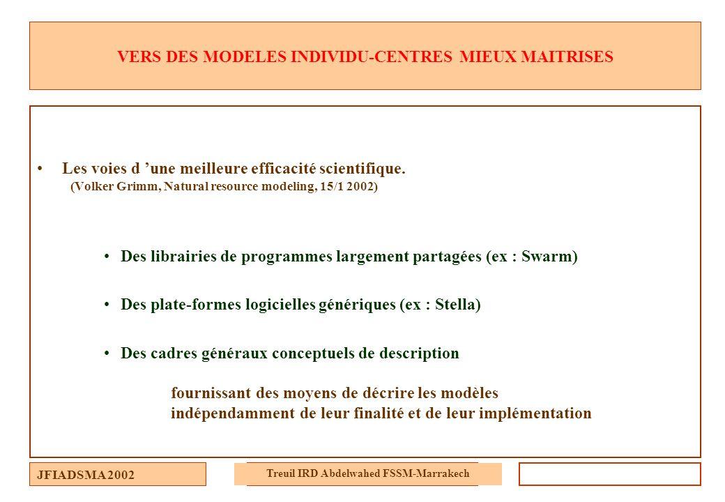 JFIADSMA 2002 Treuil IRD Abdelwahed FSSM-Marrakech VERS DES MODELES INDIVIDU-CENTRES MIEUX MAITRISES Les voies d une meilleure efficacité scientifique