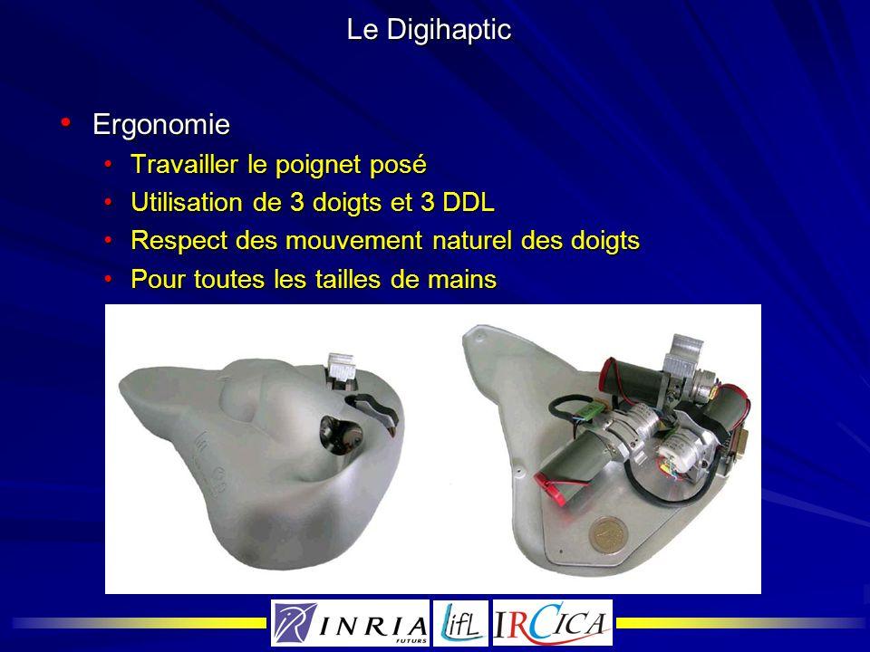 Le Digihaptic Ergonomie Ergonomie Travailler le poignet poséTravailler le poignet posé Utilisation de 3 doigts et 3 DDLUtilisation de 3 doigts et 3 DD