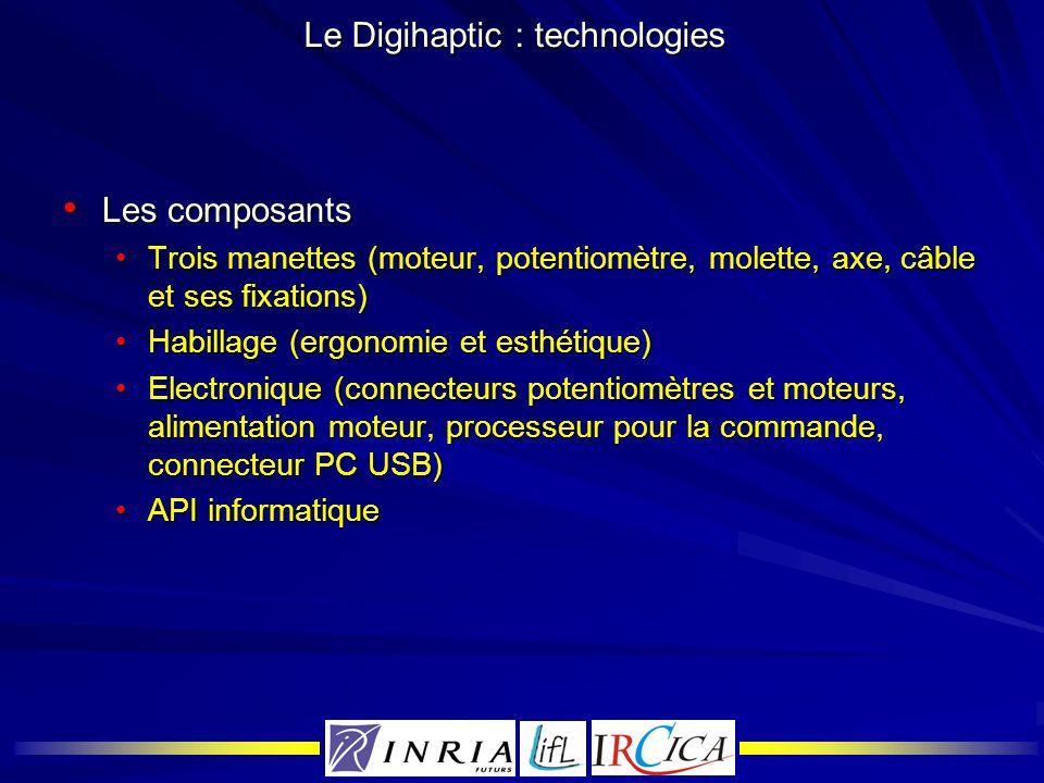 Le Digihaptic : technologies Les composants Les composants Trois manettes (moteur, potentiomètre, molette, axe, câble et ses fixations)Trois manettes