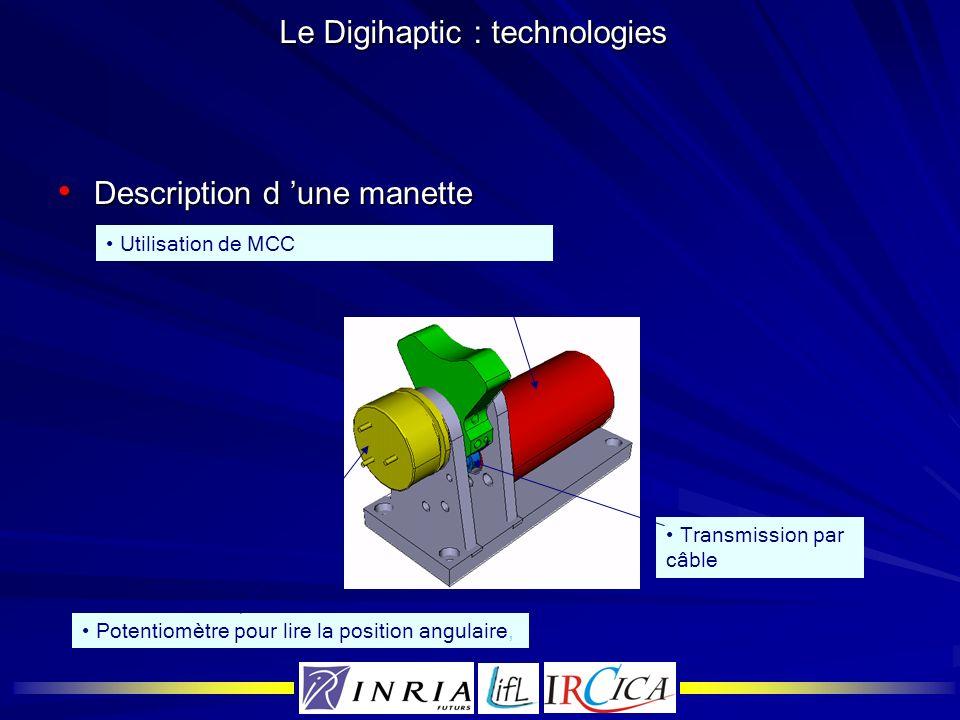 Le Digihaptic : technologies Description d une manette Description d une manette Utilisation de MCC Potentiomètre pour lire la position angulaire, Tra