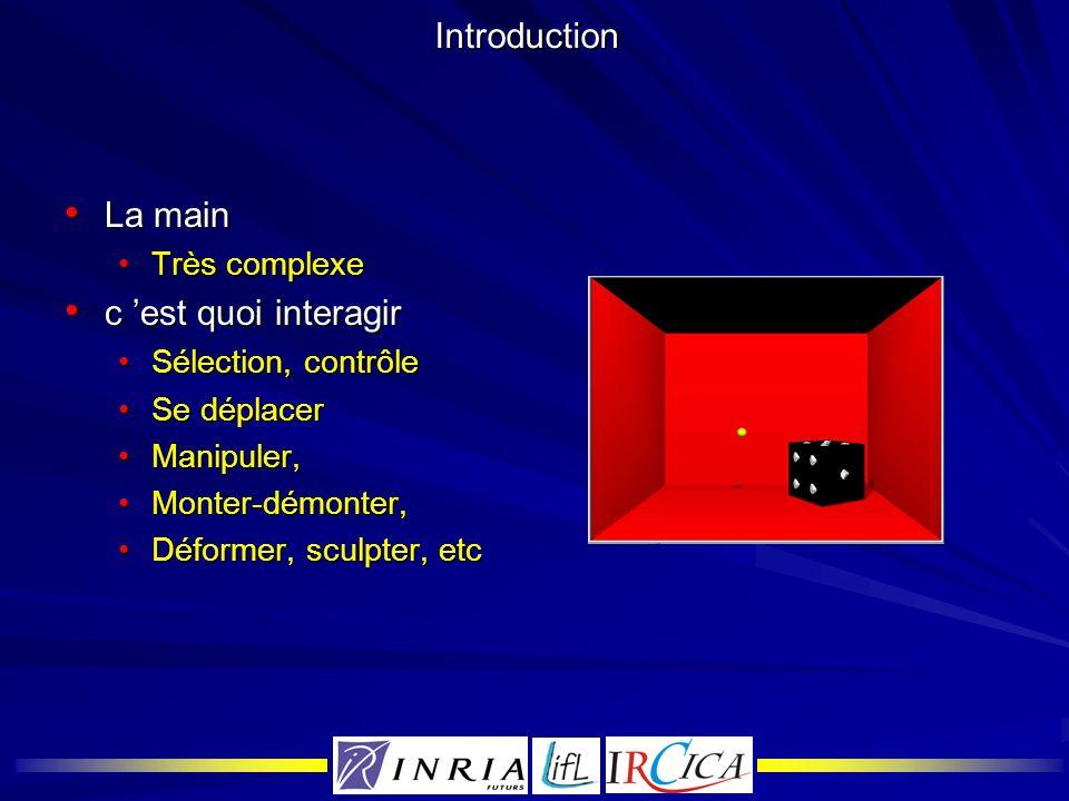 Introduction La main La main Très complexeTrès complexe c est quoi interagir c est quoi interagir Sélection, contrôleSélection, contrôle Se déplacerSe