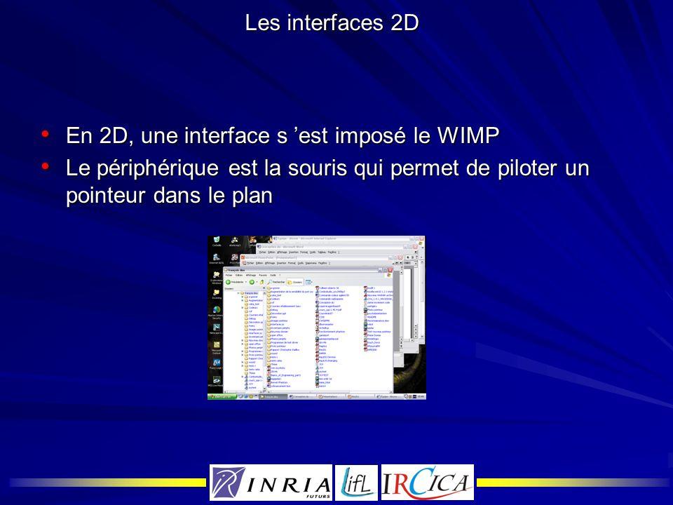 Les interfaces 2D En 2D, une interface s est imposé le WIMP En 2D, une interface s est imposé le WIMP Le périphérique est la souris qui permet de pilo