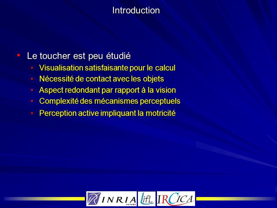 Introduction Le toucher est peu étudié Le toucher est peu étudié Visualisation satisfaisante pour le calculVisualisation satisfaisante pour le calcul