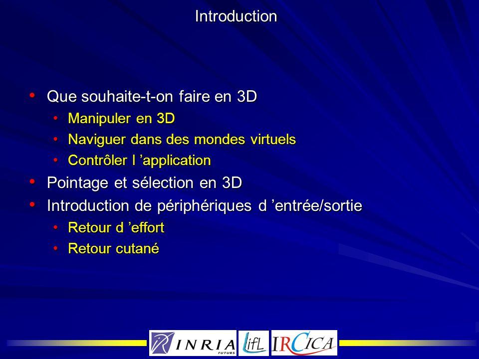 Introduction Que souhaite-t-on faire en 3D Que souhaite-t-on faire en 3D Manipuler en 3DManipuler en 3D Naviguer dans des mondes virtuelsNaviguer dans