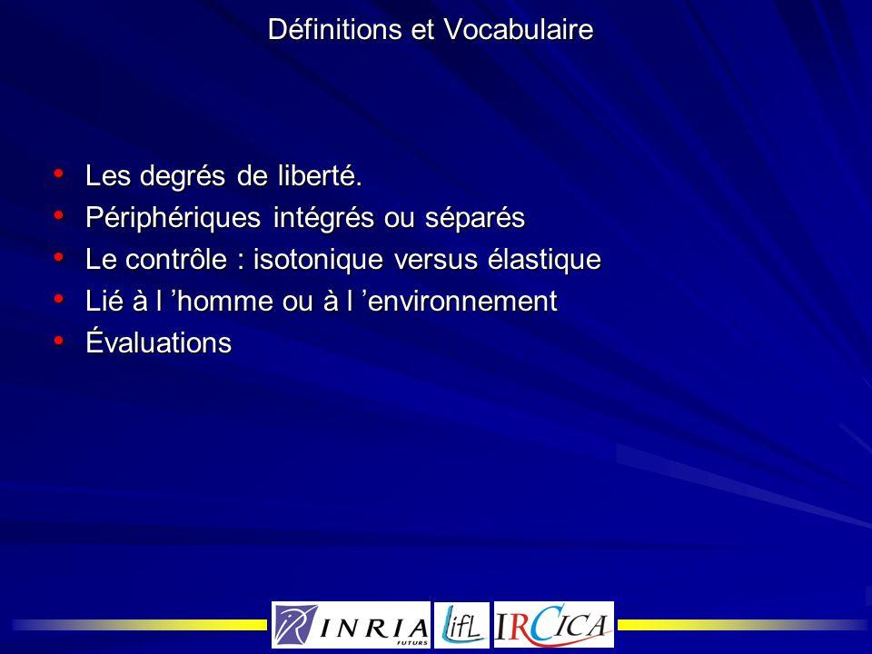 Définitions et Vocabulaire Les degrés de liberté. Les degrés de liberté. Périphériques intégrés ou séparés Périphériques intégrés ou séparés Le contrô