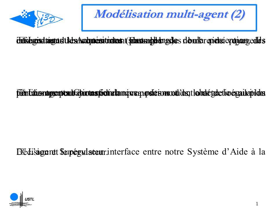 1 Modélisation multi-agent (2) Les agents Acquisitions sont chargés de la perception.