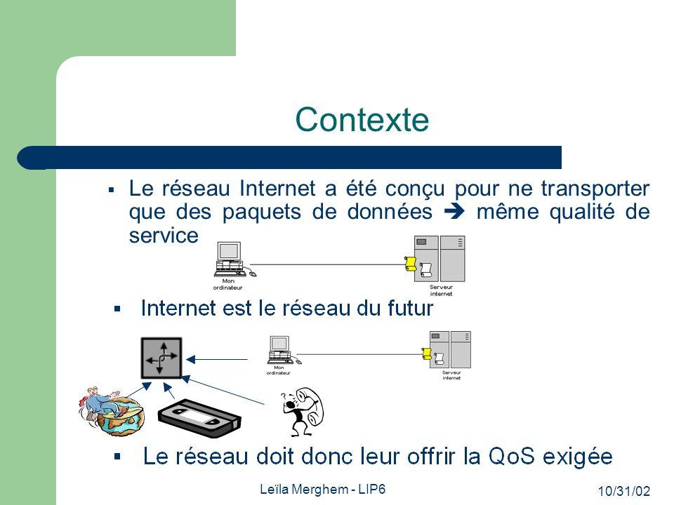 10/31/02 Leïla Merghem - LIP6 Contexte Le réseau Internet a été conçu pour ne transporter que des paquets de données même qualité de service