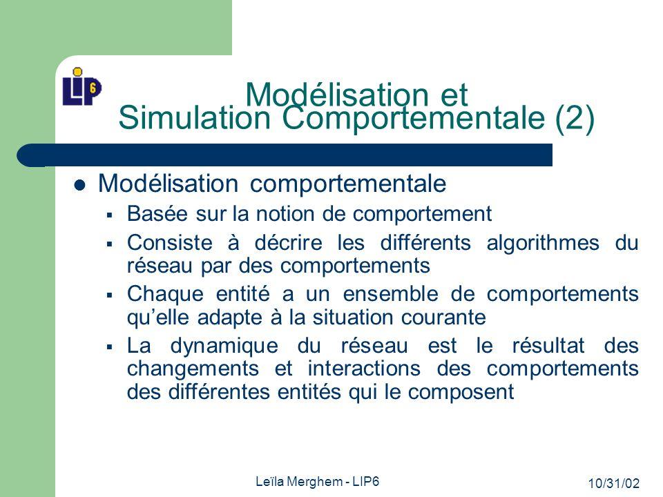 10/31/02 Leïla Merghem - LIP6 Exemples de comportements Sélectif: gestion de la file dattente avec traitement des priorités