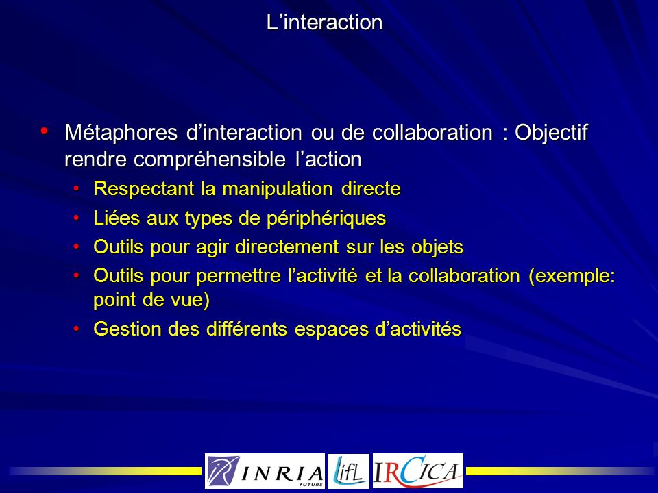 Linteraction Métaphores dinteraction ou de collaboration : Objectif rendre compréhensible laction Métaphores dinteraction ou de collaboration : Object