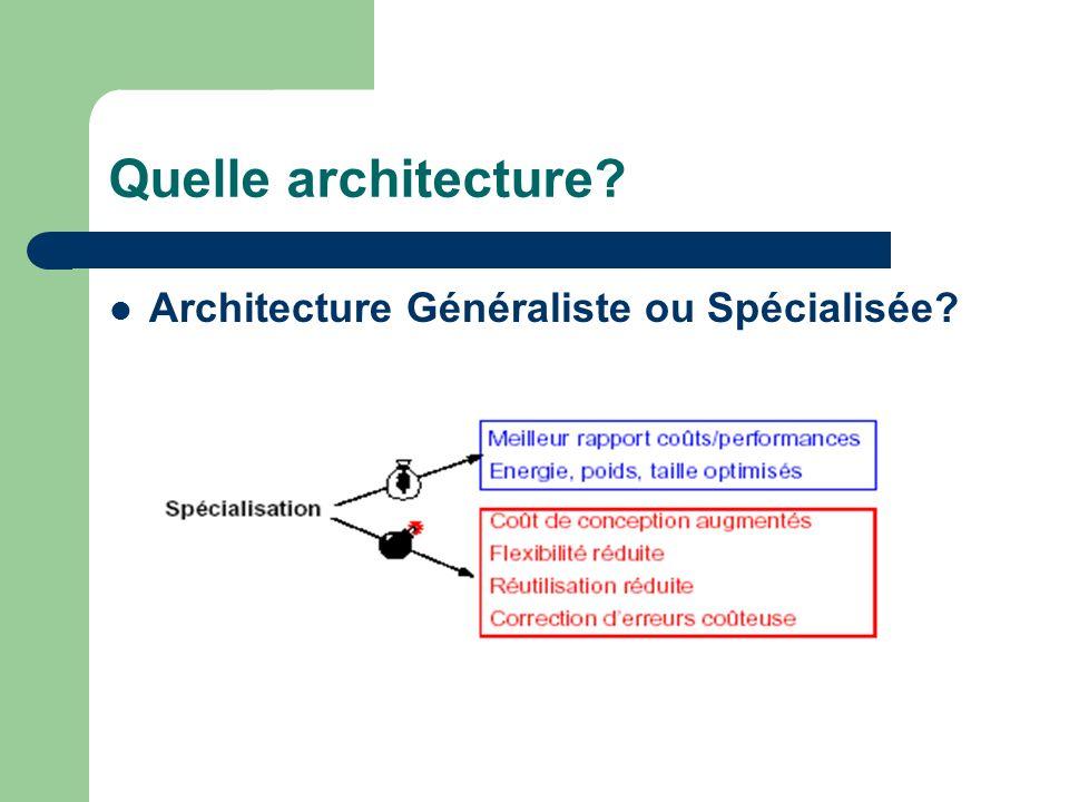 Quelle architecture? Architecture Généraliste ou Spécialisée?