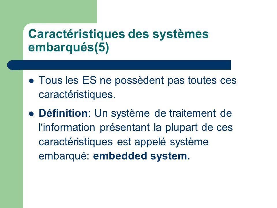 Caractéristiques des systèmes embarqués(5) Tous les ES ne possèdent pas toutes ces caractéristiques. Définition: Un système de traitement de linformat