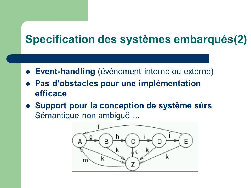 Specification des systèmes embarqués(2) Event-handling (événement interne ou externe) Pas dobstacles pour une implémentation efficace Support pour la