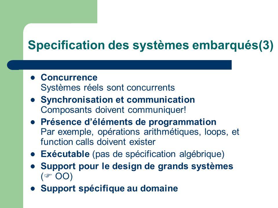 Specification des systèmes embarqués(3) Concurrence Systèmes réels sont concurrents Synchronisation et communication Composants doivent communiquer! P
