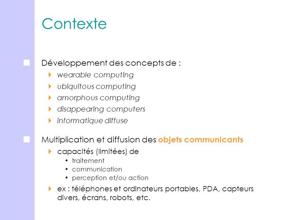 Contexte Développement des concepts de : wearable computing ubiquitous computing amorphous computing disappearing computers informatique diffuse Multi
