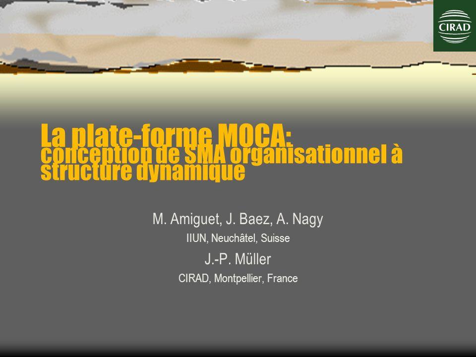 La plate-forme MOCA: conception de SMA organisationnel à structure dynamique M. Amiguet, J. Baez, A. Nagy IIUN, Neuchâtel, Suisse J.-P. Müller CIRAD,