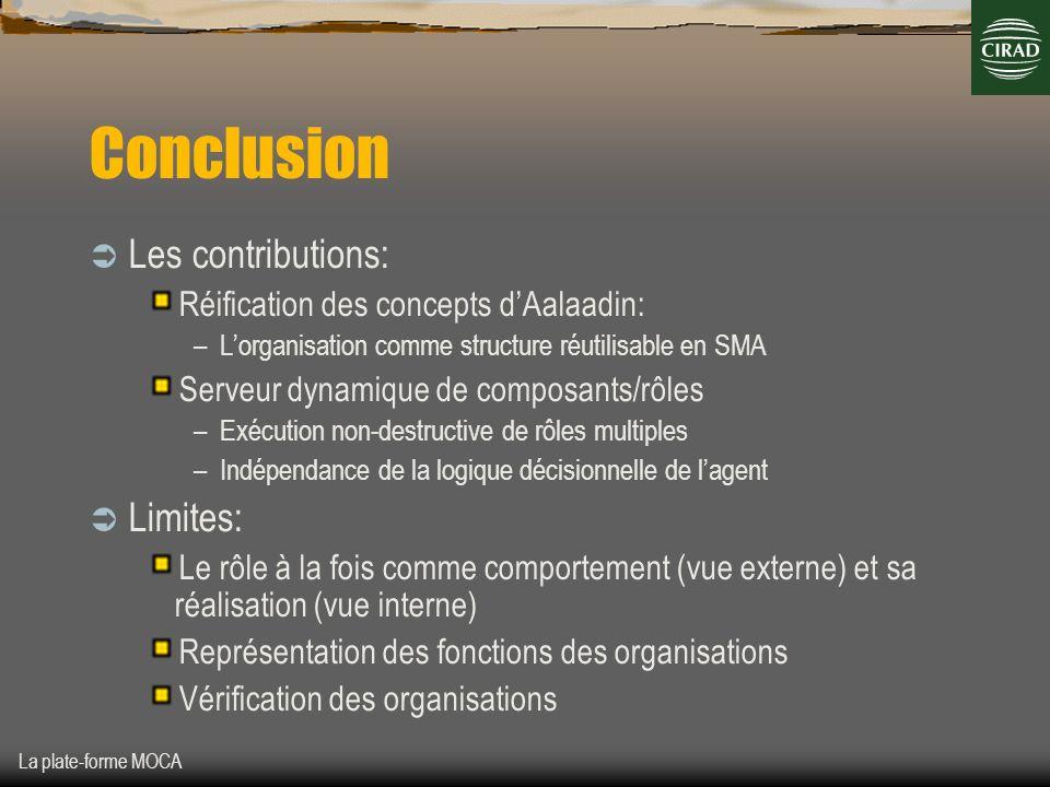 La plate-forme MOCA Conclusion Les contributions: Réification des concepts dAalaadin: –Lorganisation comme structure réutilisable en SMA Serveur dynam