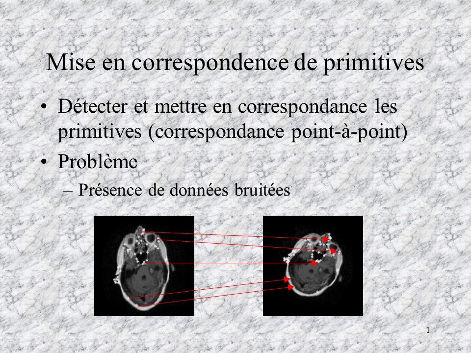 1 Mise en correspondence de primitives Détecter et mettre en correspondance les primitives (correspondance point-à-point) Problème –Présence de donnée