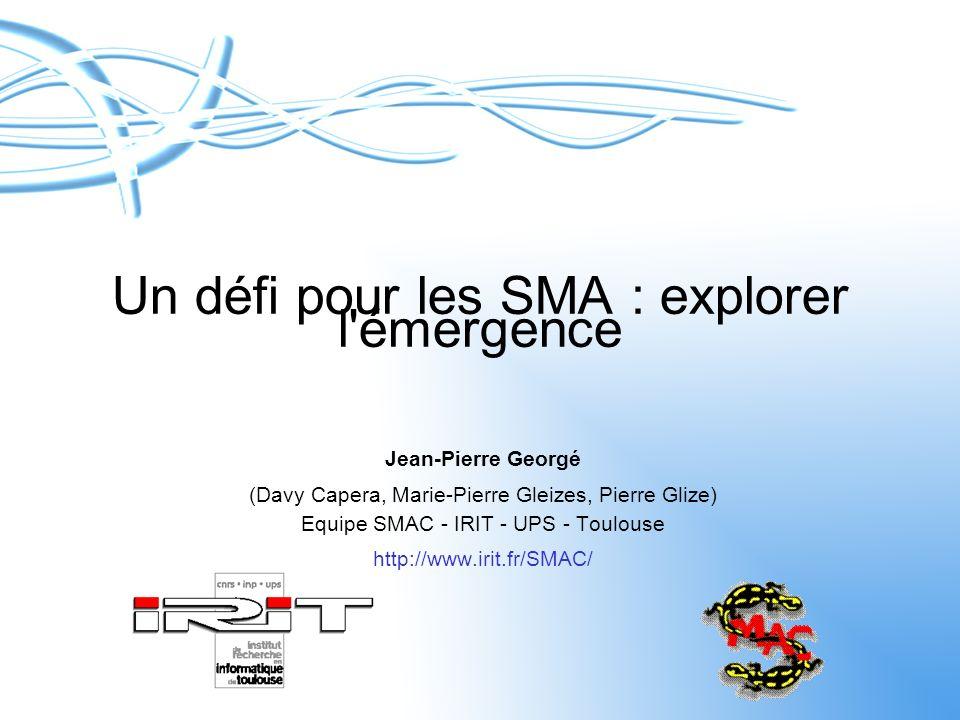 Un défi pour les SMA : explorer l'émergence Jean-Pierre Georgé (Davy Capera, Marie-Pierre Gleizes, Pierre Glize) Equipe SMAC - IRIT - UPS - Toulouse h