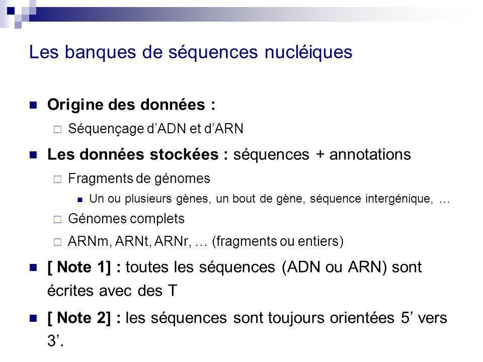 Les banques de séquences nucléiques Origine des données : Séquençage dADN et dARN Les données stockées : séquences + annotations Fragments de génomes Un ou plusieurs gènes, un bout de gène, séquence intergénique, … Génomes complets ARNm, ARNt, ARNr, … (fragments ou entiers) [ Note 1] : toutes les séquences (ADN ou ARN) sont écrites avec des T [ Note 2] : les séquences sont toujours orientées 5 vers 3.