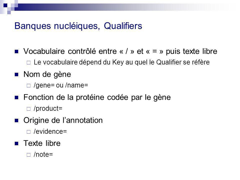 Banques nucléiques, Qualifiers Vocabulaire contrôlé entre « / » et « = » puis texte libre Le vocabulaire dépend du Key au quel le Qualifier se réfère Nom de gène /gene= ou /name= Fonction de la protéine codée par le gène /product= Origine de lannotation /evidence= Texte libre /note=