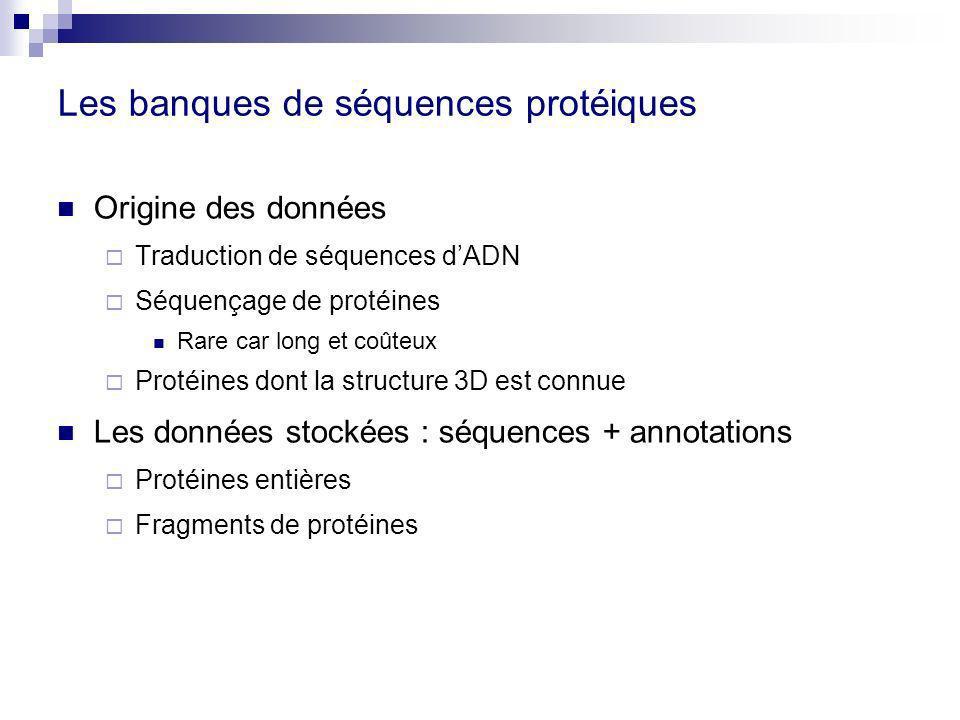 Les banques de séquences protéiques Origine des données Traduction de séquences dADN Séquençage de protéines Rare car long et coûteux Protéines dont la structure 3D est connue Les données stockées : séquences + annotations Protéines entières Fragments de protéines