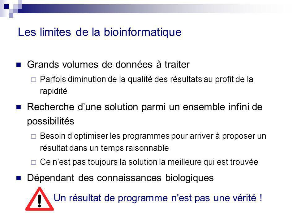 Les limites de la bioinformatique Grands volumes de données à traiter Parfois diminution de la qualité des résultats au profit de la rapidité Recherch