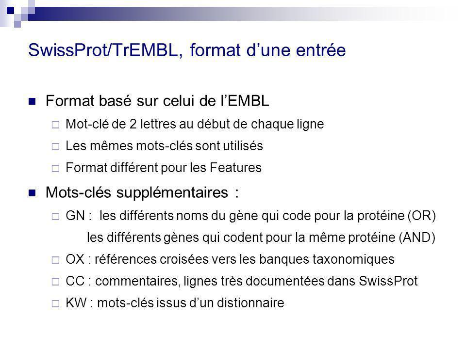 SwissProt/TrEMBL, format dune entrée Format basé sur celui de lEMBL Mot-clé de 2 lettres au début de chaque ligne Les mêmes mots-clés sont utilisés Format différent pour les Features Mots-clés supplémentaires : GN : les différents noms du gène qui code pour la protéine (OR) les différents gènes qui codent pour la même protéine (AND) OX : références croisées vers les banques taxonomiques CC : commentaires, lignes très documentées dans SwissProt KW : mots-clés issus dun distionnaire