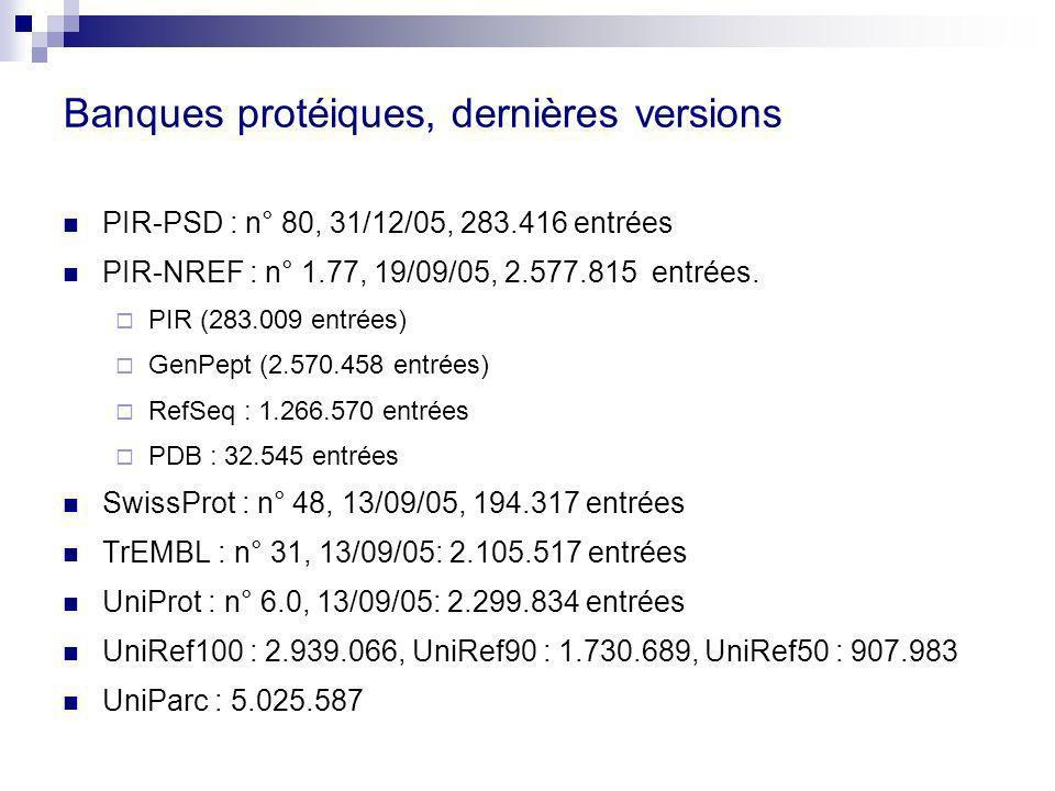 Banques protéiques, dernières versions PIR-PSD : n° 80, 31/12/05, 283.416 entrées PIR-NREF : n° 1.77, 19/09/05, 2.577.815 entrées.