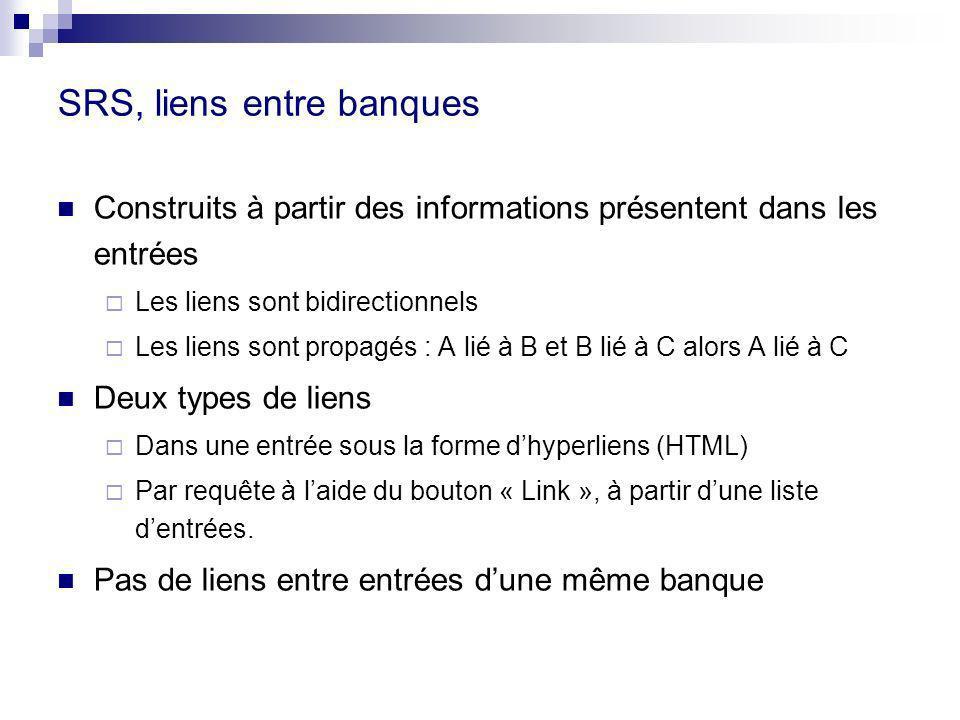SRS, liens entre banques Construits à partir des informations présentent dans les entrées Les liens sont bidirectionnels Les liens sont propagés : A l