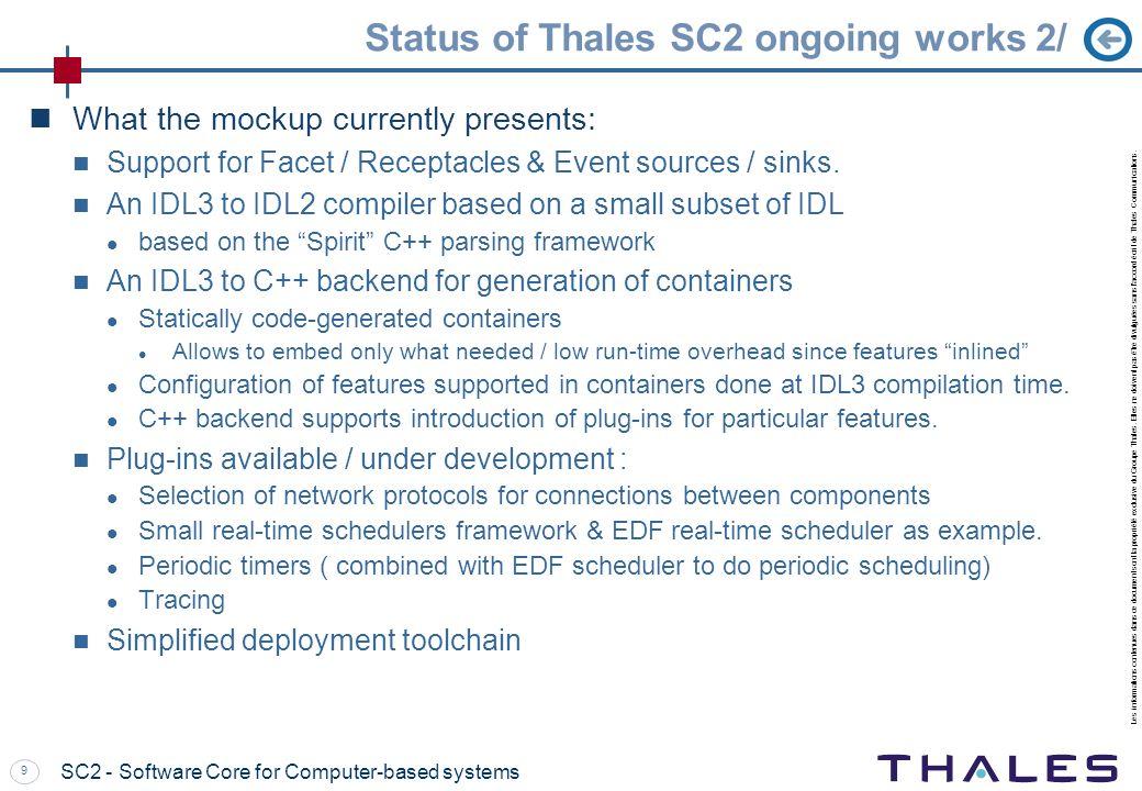 Les informations contenues dans ce document sont la propriété exclusive du Groupe Thales. Elles ne doivent pas être divulguées sans l'accord écrit de