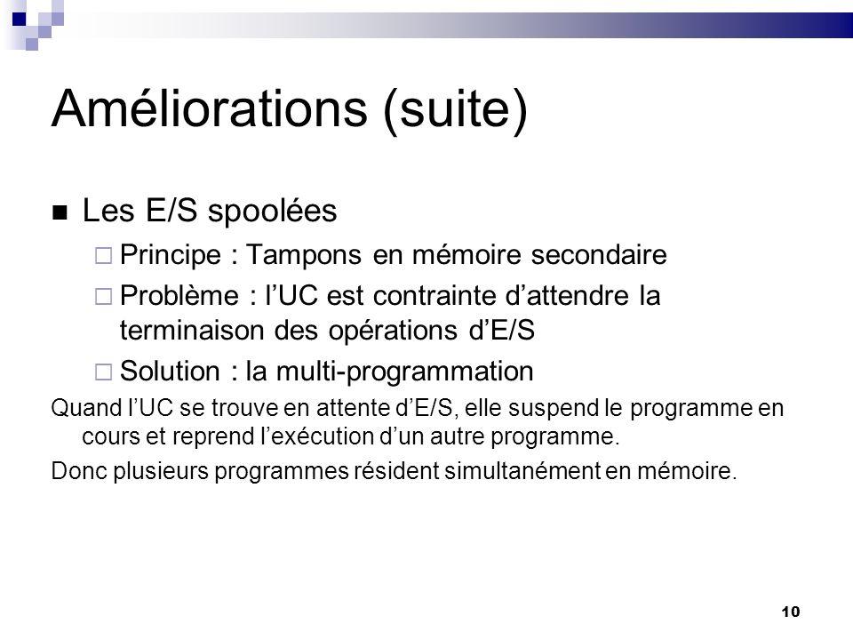 10 Améliorations (suite) Les E/S spoolées Principe : Tampons en mémoire secondaire Problème : lUC est contrainte dattendre la terminaison des opératio