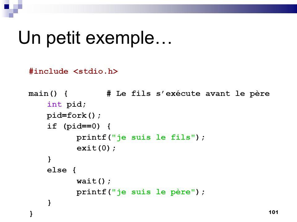 101 Un petit exemple… #include main() {# Le fils sexécute avant le père int pid; pid=fork(); if (pid==0) { printf(