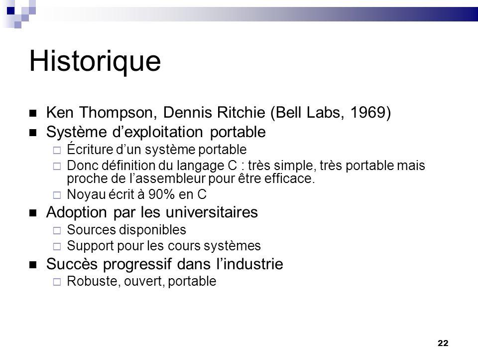 22 Historique Ken Thompson, Dennis Ritchie (Bell Labs, 1969) Système dexploitation portable Écriture dun système portable Donc définition du langage C