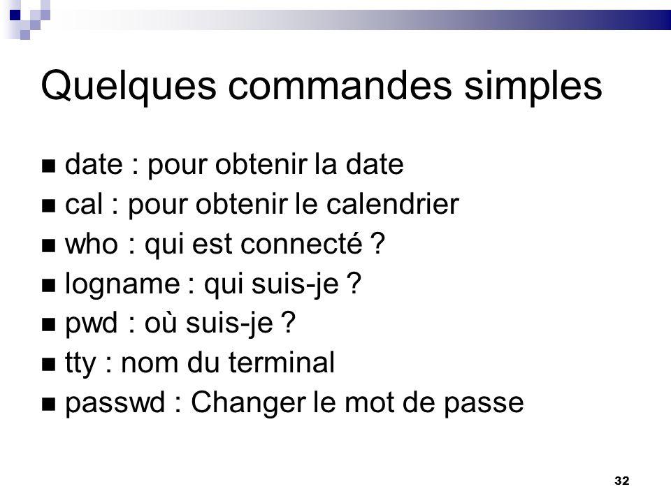 32 Quelques commandes simples date : pour obtenir la date cal : pour obtenir le calendrier who : qui est connecté ? logname : qui suis-je ? pwd : où s