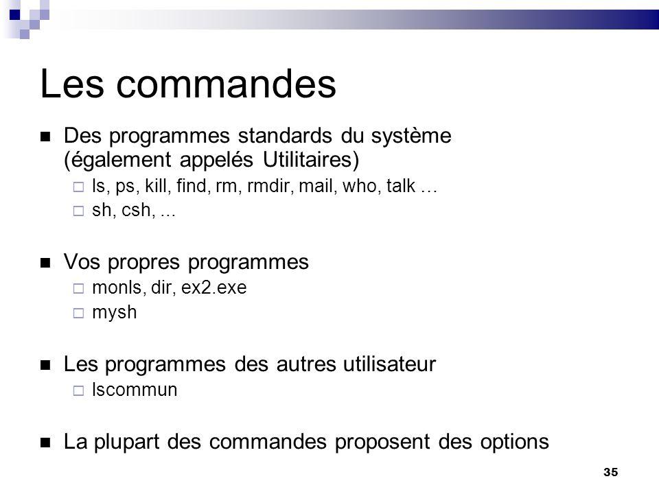 35 Les commandes Des programmes standards du système (également appelés Utilitaires) ls, ps, kill, find, rm, rmdir, mail, who, talk … sh, csh,... Vos