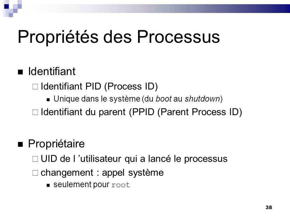 38 Propriétés des Processus Identifiant Identifiant PID (Process ID) Unique dans le système (du boot au shutdown) Identifiant du parent (PPID (Parent