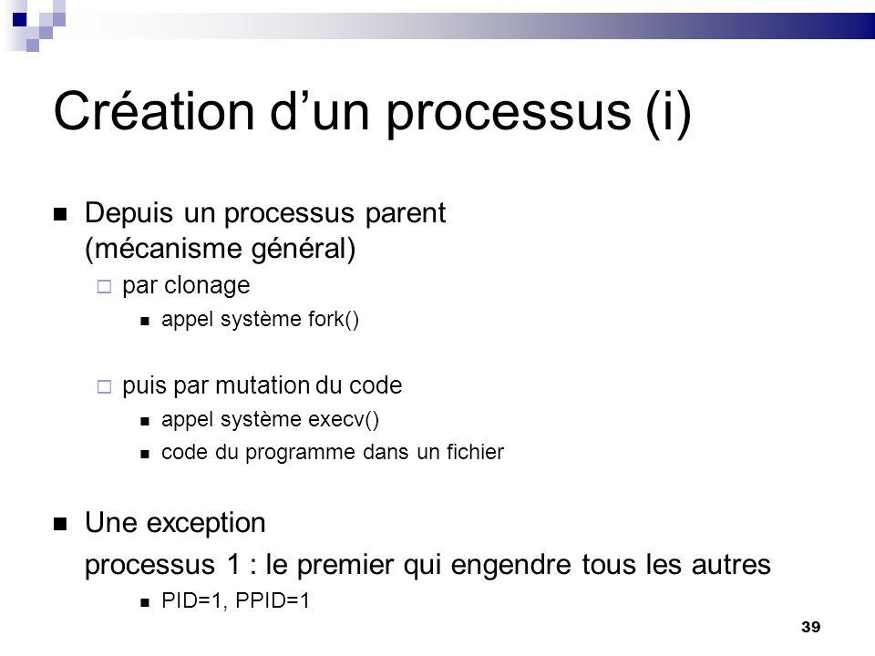 39 Création dun processus (i) Depuis un processus parent (mécanisme général) par clonage appel système fork() puis par mutation du code appel système