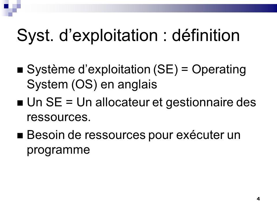 4 Syst. dexploitation : définition Système dexploitation (SE) = Operating System (OS) en anglais Un SE = Un allocateur et gestionnaire des ressources.