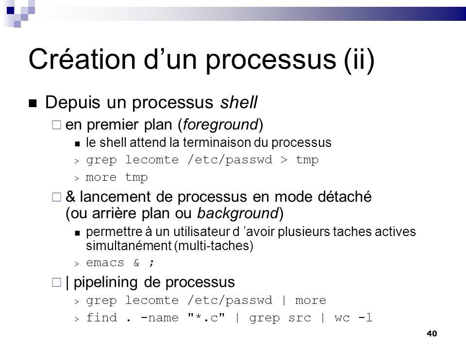 40 Création dun processus (ii) Depuis un processus shell en premier plan (foreground) le shell attend la terminaison du processus > grep lecomte /etc/