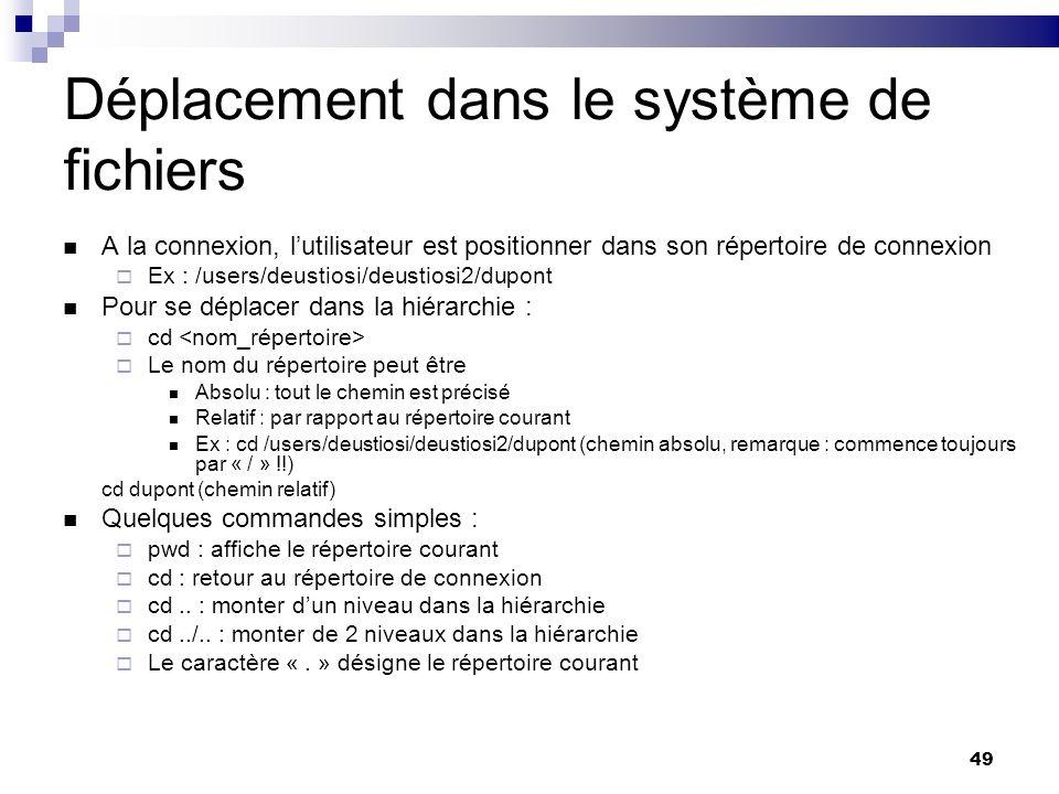 49 Déplacement dans le système de fichiers A la connexion, lutilisateur est positionner dans son répertoire de connexion Ex : /users/deustiosi/deustio