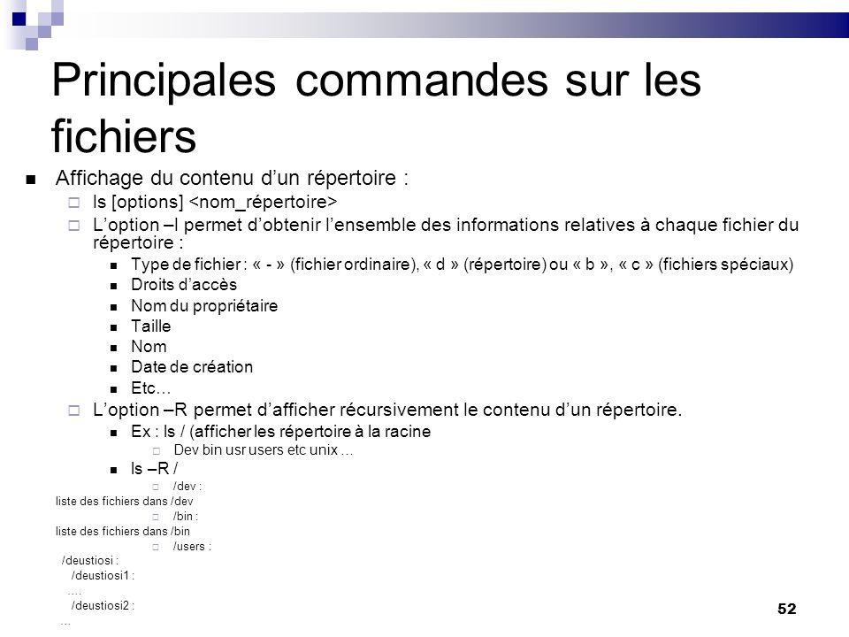 52 Principales commandes sur les fichiers Affichage du contenu dun répertoire : ls [options] Loption –l permet dobtenir lensemble des informations rel