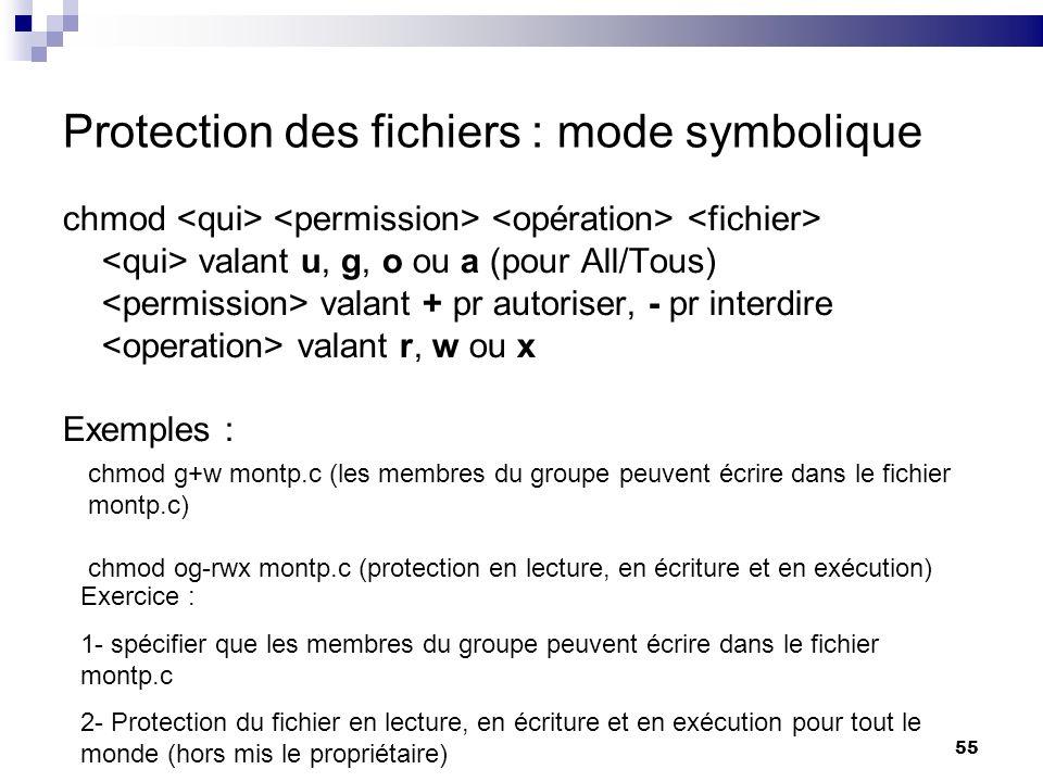 55 Protection des fichiers : mode symbolique chmod valant u, g, o ou a (pour All/Tous) valant + pr autoriser, - pr interdire valant r, w ou x Exemples