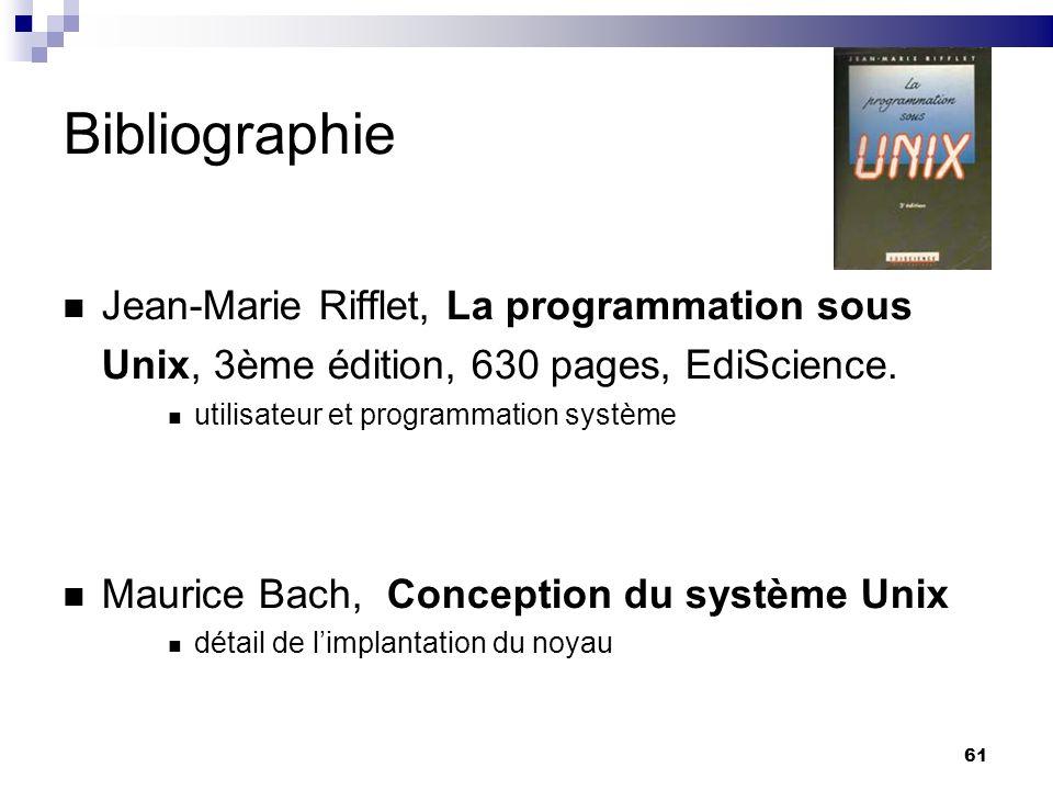 61 Bibliographie Jean-Marie Rifflet, La programmation sous Unix, 3ème édition, 630 pages, EdiScience. utilisateur et programmation système Maurice Bac