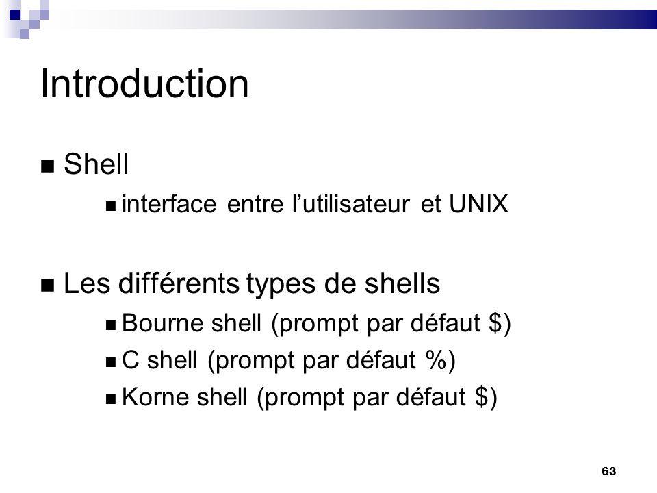 63 Introduction Shell interface entre lutilisateur et UNIX Les différents types de shells Bourne shell (prompt par défaut $) C shell (prompt par défau