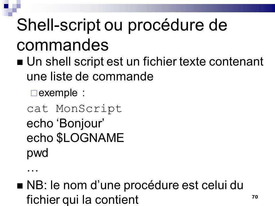70 Shell-script ou procédure de commandes Un shell script est un fichier texte contenant une liste de commande exemple : cat MonScript echo Bonjour ec