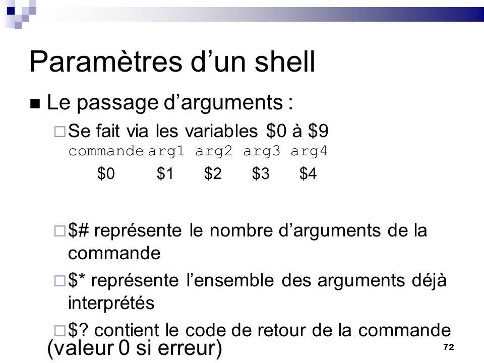 72 Paramètres dun shell Le passage darguments : Se fait via les variables $0 à $9 commandearg1arg2arg3arg4 $0 $1 $2 $3 $4 $# représente le nombre darg