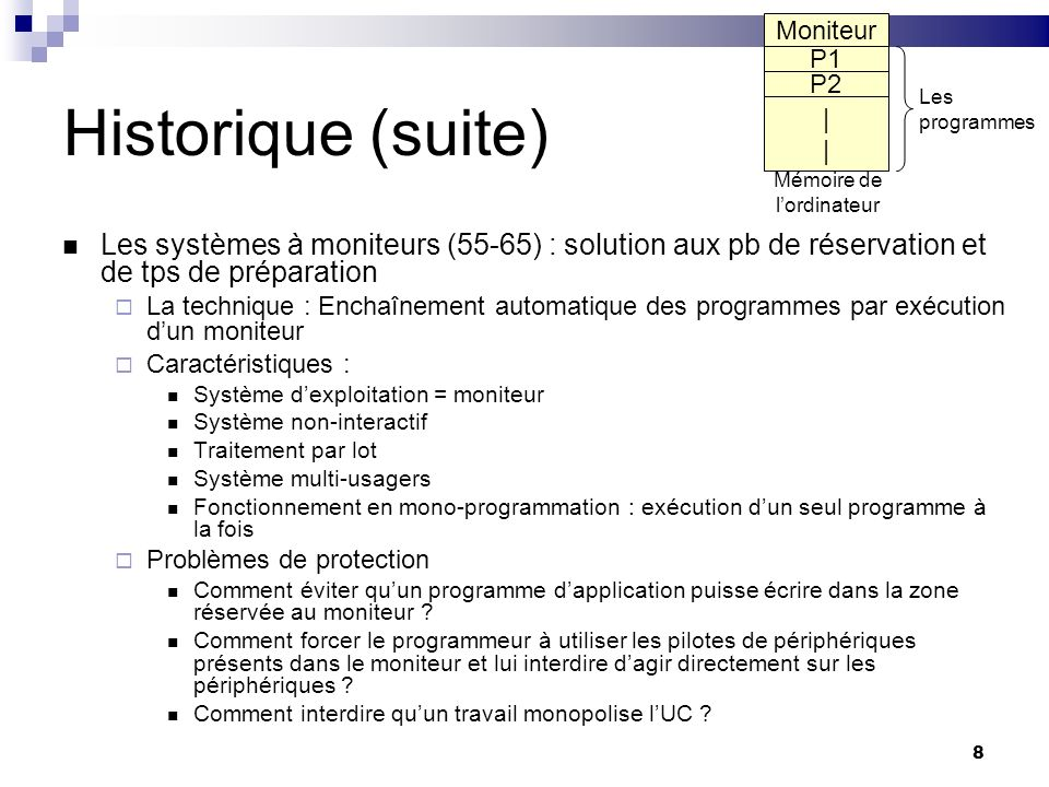 8 Historique (suite) Les systèmes à moniteurs (55-65) : solution aux pb de réservation et de tps de préparation La technique : Enchaînement automatiqu