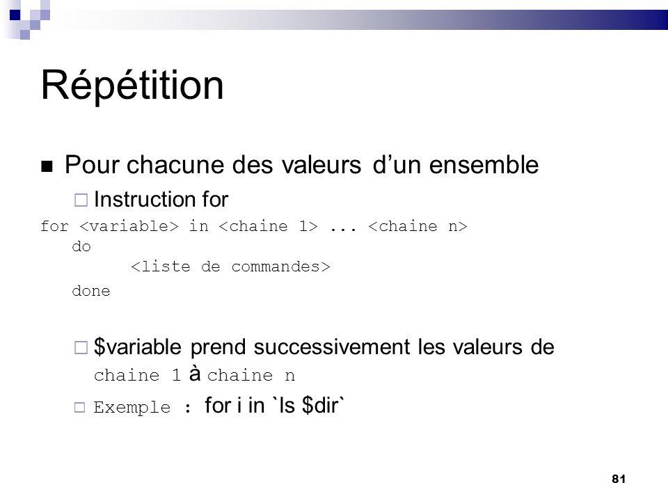 81 Répétition Pour chacune des valeurs dun ensemble Instruction for for in... do done $variable prend successivement les valeurs de chaine 1 à chaine