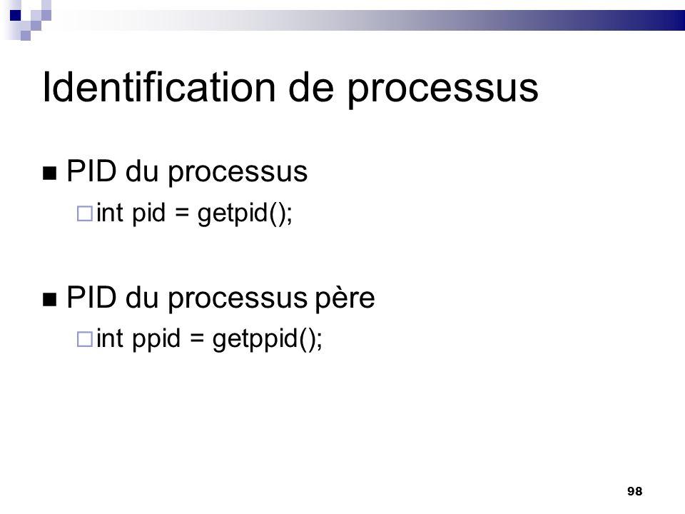 98 Identification de processus PID du processus int pid = getpid(); PID du processus père int ppid = getppid();